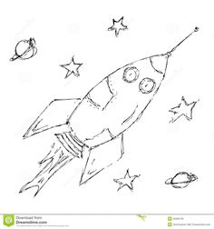 Rocket Space Doodle Sketch Stock Photos, Images, & Pictures – (318 ...