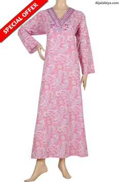 """""""Barbie Ann"""" Cotton patterned jalabiya with embroidery (N-12915-21)"""