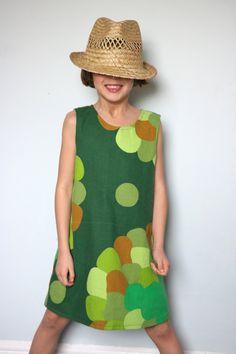 Upcycled retro 70's fabric pinafore dress.