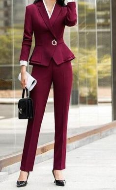 Peplum Pants, Pants Outfit, Fall Fashion Outfits, Suit Fashion, Burgundy Suit Women, Professional Outfits, Business Professional, Professional Women, Office Outfits Women