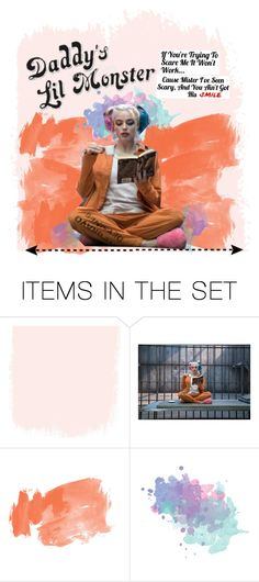"""""""Harley Quinn  wallpaper"""" by karanova ❤ liked on Polyvore featuring art, harleyquinn, wallpaper, SuicideSquad and wallpaperdesign"""