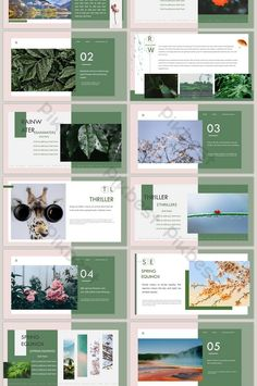 dark green spring came the art brochure style ppt template