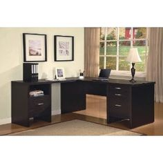 Cabot L Shaped Computer Desk with Drawers in Espresso Oak - Bush Furniture a stylish, functional and organized home office with the Bush Furniture Cabot L Shaped Computer Desk with Drawers. The spacious work surface allows you to s L Shaped Office Desk, Home Office Computer Desk, L Shaped Desk, Home Office Space, Contemporary Office Desk, Modern Desk, Executive Office Furniture, Home Office Furniture, Desks