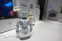 Newly unveiled Haier Ubot household robots are shown in a kitchen display at the CES 2016 Consumer Electronics Show on January 8, 2016 in Las Vegas, Nevada. (David McNew/AFP/Getty Images)