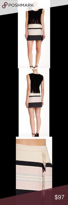 "BCBGMAXAZRIA Mallika Woven Skirt Back hidden zip closure, striped, fringe trim. About 14"" length. 63% cotton, 37% polyester. Hand wash cold. Fits true to size. Cream, black,. BCBGMaxAzria Skirts Mini"