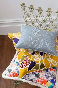 Simple embroidered cushion design.