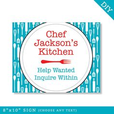 Cooking party  Personalized DIY printable sign by Chickabug