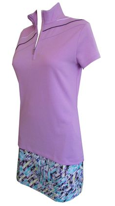 5e51d6b55fd EP New York Ladies   Plus Size Golf Outfits (Shirt   Skorts) - Club Med  (Lilac Mist Multi)