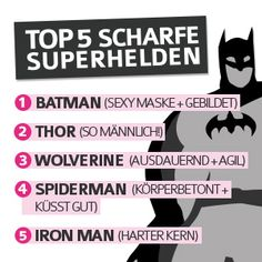 Top 5 Scharfe Superhelden http://www.shopaman.de/blog/darkroom/top-superhelden