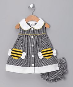 Black Gingham Bumblebee Dress -