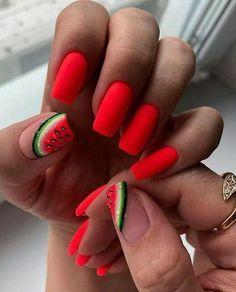 Watermelon Nail Designs for Spring - - Get the motivation you need to care for your nails with these beautify spring and summer nail art inspiration to paint your nails. Cute Summer Nail Designs, Cute Summer Nails, Winter Nail Designs, Colorful Nail Designs, Nail Art Designs, Watermelon Nail Designs, Watermelon Nails, Colourful Acrylic Nails, Acrylic Nail Art