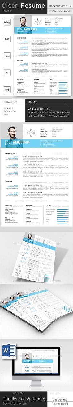 Simple Resume / CV Template Vector EPS, AI Illustrator, MS Word