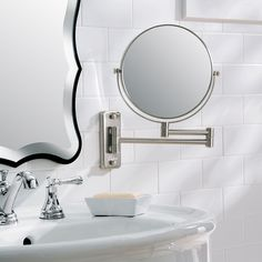 This bathroom mirror pulls double duty offering you 1x and 5x magnification with a simple swivel. Vanity mirror matches most bathroom decor.