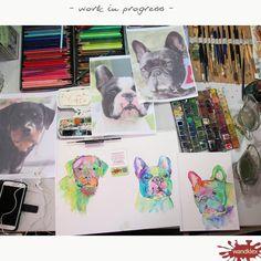 Treib's doch mal bunt! Auch so krass unbrav kann ein Portrait nach Fotovorlage aussehen, man muss sich nur trauen! #wandklex #auftragskunst #Auftragsmalerei #aquarell #kunst #hahnemuehle #art #comission #painting #etsyshop wandklex.etsy.com #etsyresolutionDE #custompaint #comission #etsyresolution2016 #hund #dog #rottweiler #frenchbulldog #frenchie