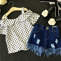 Special price Girls Clothing Set Dot White Shoulderless Shirt+Tassel Jeans Shorts Pants Kids Clothes Suit Denim Children Clothes set baby girl just only $11.61 with free shipping worldwide  #girlsclothing Plese click on picture to see our special price for you