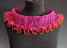 "Arline Fisch  'Magenta & Orange Ruffle' Necklace in coated copper wire (machine knit and crochet). 12"" diameter, 3"" wide band."