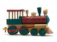 Motor de trem de madeira de brinquedo