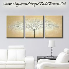ON SALE 48x20 inches Original Artwork 3 Piece Wall by ToddEvansArt, $90.00