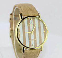 Reloj rayas beige www.miadamia.es