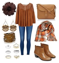 """Brown"" by blkleynen on Polyvore featuring H&M, Warehouse, Sif Jakobs Jewellery and Topshop"