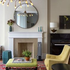 Living room in NY Townhouse Brooklyn Brownstone, Round Mirrors, Club Chairs, Interior Design Living Room, Townhouse, Fireplaces, Piano Club, Kevin Hart, Architects