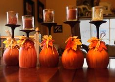 Fall Decor: Painted wine glasses, so doing this! Wine Glass Crafts, Wine Bottle Crafts, Wine Bottles, Bottle Art, Fun Wine Glasses, Painted Wine Glasses, Champagne Glasses, Adornos Halloween, Halloween Crafts