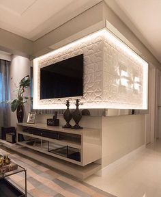 Easy Home Decor For Everyone – Best Puzzles, Games, Ideas & Living Room Interior, Home Interior Design, Living Room Decor, Living Room Tv Unit Designs, Tv Wall Design, Easy Home Decor, Indirect Lighting, Strip Lighting, Tv Panel