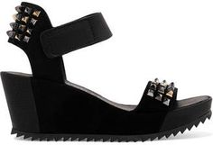 Pedro Garcia Fortuna Stud-embellished Leather And Suede Wedge Sandals - Black Black Wedge Sandals, Wedge Heels, Women's Sandals, Ankle Straps, Black Leather, Wedges, Beauty Style, Shoes, Disney Inspired