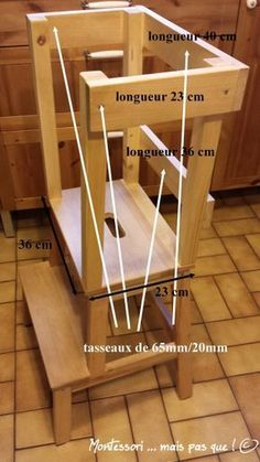 Standing tower (or learning tower) / high chair, made with an Ikea stool) - Ikea DIY - The best IKEA hacks all in one place Tour Dapprentissage, Tour D Observation Montessori, Learning Tower Ikea, Wood Projects, Woodworking Projects, Learn Woodworking, Cute Desk Chair, Ikea Stool, Stool Chair