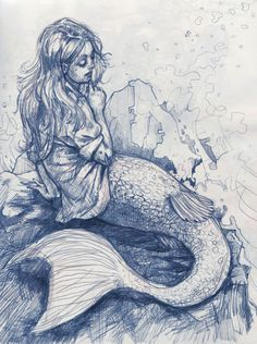 """"""" Oh look--it's a mermaid wearing a SHIRT! Somebody hug this artist"""" said the last pinned. So true, also a lovely drawing."""