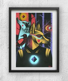 Eelco 'Virus' van den Berg: Into The Night - Print (2012)  Eelco is a widely known illustrator, painter, and graffiti writer. All of his work is hand drawn and stands out by its strong use of colors and outlines. Eelco displays a wolf man as the centerpiece of the illustration, with a howling natural wolf behind him on the daylight half of the page, and pure darkness with a moon on the other half. I believe this exemplifies what a person is like during the daytime versus night time.