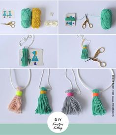 23 Ideas Diy Easy Necklace Collars For 2019 Yarn Crafts, Diy Crafts, Bead Crafts, Diy Jewelry, Jewelry Making, Diy Collier, Diy Tassel, Tassles Diy, Tassel Garland