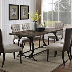 Diffuse Wood Top Cast Iron Dining Table from EMFURN