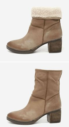 Genuine Suede Fold-Over Boots in a Brown Burnished Finish ★