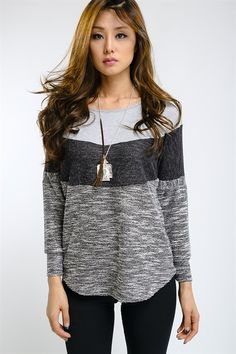 Grey and black color block top $34shipped, S-M-L Purchase here https://www.facebook.com/photo.php?fbid=10153884007868686&set=pcb.1040354189357190&type=3&theater