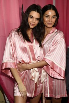 Lily Aldridge and Kendall Jenner backstage at 2015 Victoria's Secret Fashion Show. #victoriassecret
