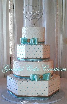 Country Chic Tiffany Blue and White Wedding Cake with Burl… | Flickr