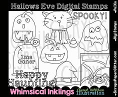 """Digital Stamps [Whimsical Inklings By Cheryl] - ** 12 Hallows Eve ImagesSo fun to """"Color Yourself""""Made in 300 dpi for excellent printingArtwork by: Whimsical Inklings by Cheryl White Image, Digital Stamps, Hallows Eve, Line Art, Image Graphic, Whimsical, Black And White, Comics, Halloween"""