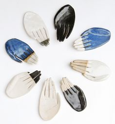 kayeblegvad-ceramics: A new batch of ceramic hands up in the shop. Made by Kaye Blegvad. (via trauermusik) Ceramic Jewelry, Ceramic Clay, Ceramic Pottery, Slab Pottery, Ceramic Bowls, Porcelain Jewelry, Fine Porcelain, Pottery Vase, Pottery Classes