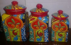 TALAVERA FOLK ART Canisters Red,Hand crafted Vibrant Floral XL Set 3 - $140.00 | PicClick