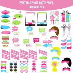 Instant download golf printable photo booth prop set pinterest instant download pink golf printable photo booth prop set diy solutioingenieria Images