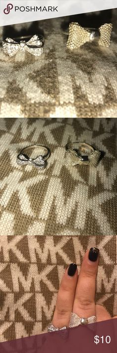 Silver Bow rings 🎀🎀 Two silver bow rings. One fits size 7, adjustable. Second fits 6-6.5 with crystals. Perfect to add to a bundle. Jewelry Rings