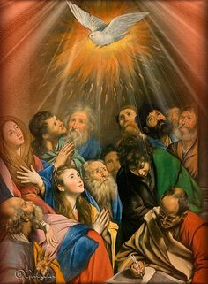 Descent of the Holy Spirit - Pentecostés Catholic Pictures, Bible Pictures, Jesus Pictures, Christian Artwork, Christian Images, Religious Images, Religious Art, Catholic Wallpaper, Jesus Christ Painting