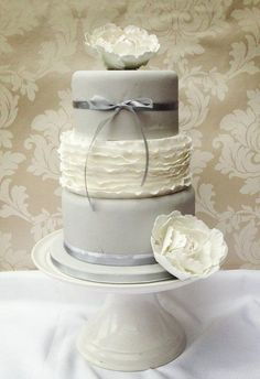 Grey and White wedding cake with sugar peonies - by funkyfabcakes @ CakesDecor.com - cake decorating website