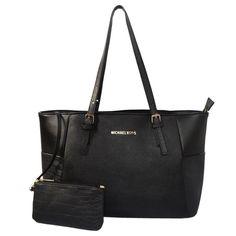 Fashion Michael Kors Jet Set Top-Zip Saffiano Leather Large Black Totes Online!