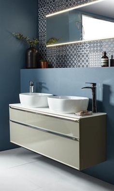 Shop The Stylish Scheme Range At Drench. The Roper Rhodes Scheme Wall Mounted Countertop Double Basin Unit Comes with A 10 Year Guarantee & Free Delivery Over Vanity Units Uk, Basin Vanity Unit, Basin Unit, Bathroom Vanity Units, Wall Mounted Vanity, Bathroom Ideas, Master Bathroom, Bathroom Inspo, Small Bathroom