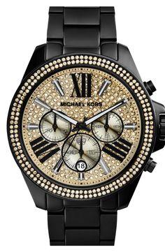 Bring on the bling! Love this Michael Kors black and sparkly gold bracelet watch. cheap-mkbags.de.hm   $61.99  mk handbags,michael kors bags,cheap mk bags