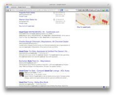 Geo-Located Google Results for Used Cars