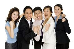 Photo about A joyful business team celebrate their success (isolated on white background). Image of colleagues, emotional, asian - 1717632 Accident Attorney, Lose Body Fat, Service Design, Victorious, Singapore, Success, Stock Photos, Joyful, Celebrities