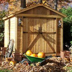 cabanon de jardin, petit abri de jardin en bois blanchi